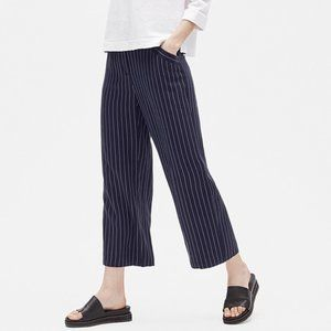 Eileen Fisher NEW Woven Striped Wide Leg Crop Pant